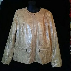 JM Collection faux snakeskin zippered jacket-sz 10